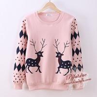 Free Shipping 2014 Fashion Autumn Winter Women Cotton Hoodies 2 Elk Deer Print Dot Sweatshirt Hoody B054