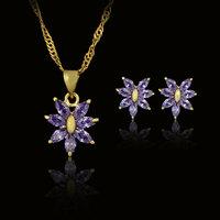 free shipping woman 18k gold plated elegant art wedding purple CZ gemstones earrings pendant zircon crystal sets fashion