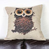 Cute Novelty Creative Design Cup Coffee Bean Owl Animal Cotton Linen Throw Cushion Cover Home Decor Sofa Pillow Case 45x45 cm