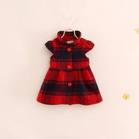 children girl princess plaid wool melton dress red black 2-7 years