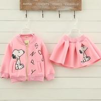 New fashion girls Autumn Winter clothes set Thicker warmer cartoon coat  + Pettiskirt set 2 pcs girls winter Baseball uniform