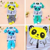 2014 New Spring Autumn baby set cartoon Panda velvet set twinset long sleeve set hoodie and pant children clothing kids sets