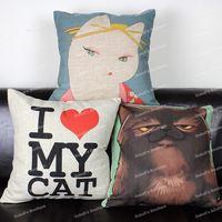Novelty Cute Adorable Cartoon Animal Soft Kitty Cat Cotton Linen Throw Cushion Cover Home Decor Sofa Pillow Case 45x45 cm