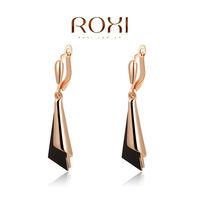 ROXI fashion rose gold plated genuine Austrian crystal black Earrings Christmas/Birthday gift 2020002275