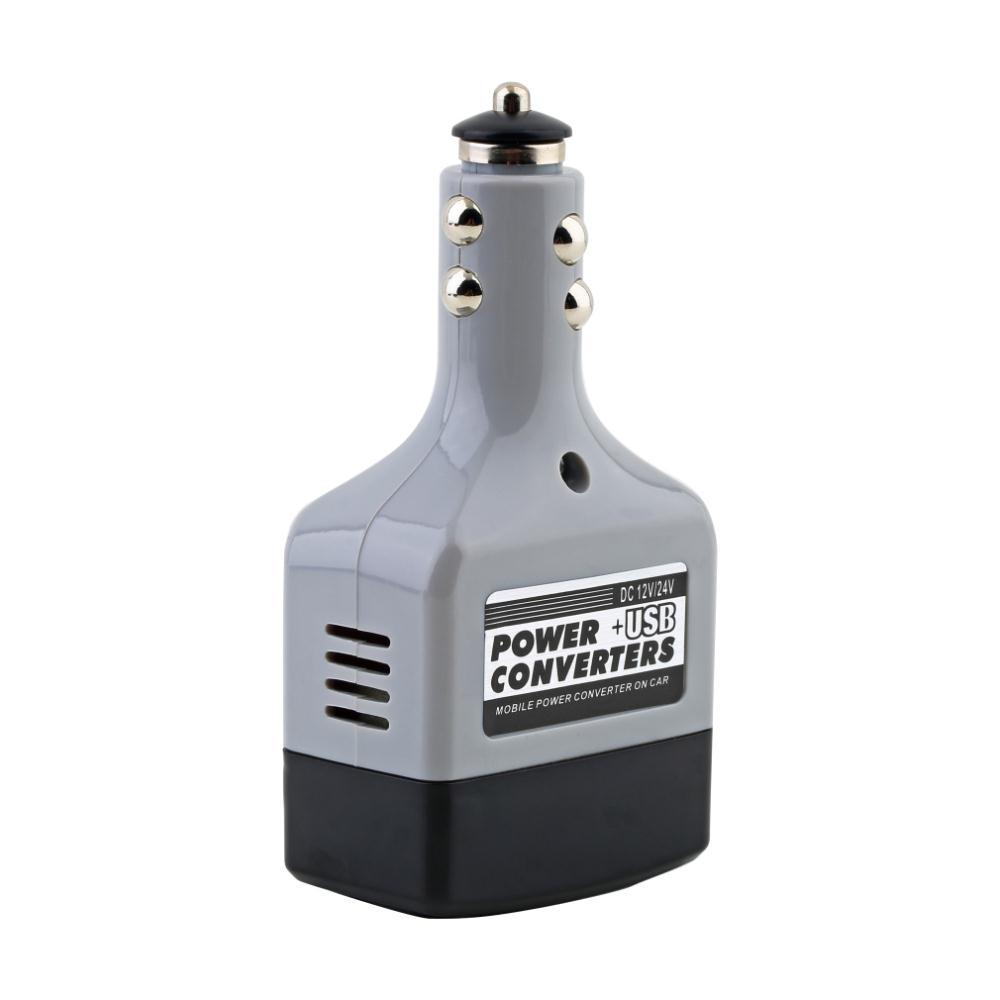 Charger Power+USB Car Mobile Converter Inverter Adapter DC 12V/24V to AC 220V Worldwide Store(China (Mainland))