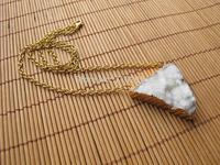 New Fashion White Quartz Druzy Necklace Geode jewelry druzy necklace 5pcs/lot with gold chain