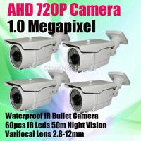1.0 Megapixel Analog Camera 60 IR Leds 2.8-12mm Lens CMOS Sensor IR-CUT HD AHD 1280*720P Security Camera
