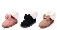 free shipping 2015 Women Autumn Winter warm Short single snow Cotton boots Antiskid Waterproof Flat Bow Plush shoes