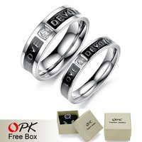 OPK Top Grade Stainless Steel Couple Ring Luxury AAA Cubic Zirconia Women Men Jewelry LOVE DEVOTION Christmas Gift Free Shipping