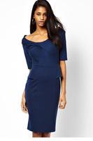 Half Sleeve Size M / L Blue Peplum Dress with Twist Detail 2014 New Autumn-winter Women Fashion Clothes Womens Career Dresses