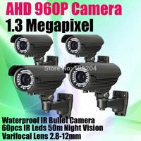 1.3 Megapixel Analog Security Camera with 60PCS IR Leds 50m long range 1/3'' CMOS Sensor IR-CUT AHD 960P Bullet CCTV Camera