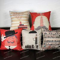 European Style Musical Notes Cartoon Portrait Retro Cotton Linen Throw Cushion Cover Home Decor Sofa Pillow Case 45x45 cm
