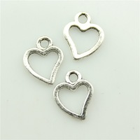 100pcs 10*8mm antique silver tiny heart charms antique silver tone