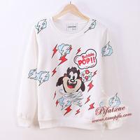 Cartoon Bubble Pop !! Women Hoody Autumn Winter Fashion Cotton Hoodies Women Loose Sweatshirt Print Lightning B049