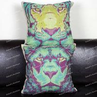 Novelty Color Design Lion & Tiger Animal Print Retro Cotton Linen Throw Cushion Cover Home Decor Sofa Pillow Case 45x45 cm