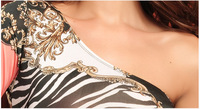 New 2014 One Shoulder Sexy Dress Sexy Nightclub Women Clothing Print Over Knee Dresses Free Shipping