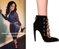 Emily Wearing Fashion Pointed-toe Gold Chain Suede Ankle Booties