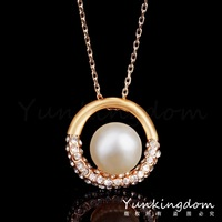 Free shipping Good gift 18K Gold plated Filled Flower Party fashion engagement to marry pearl necklace for lady Jewelry PM0214