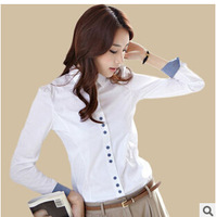 Free Shipping 2014 Spring Patchwork Long-sleeved Women's Shirt Women Fashion Autumn Blouse Dress Shirt Professional Occupation