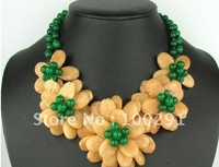 pearl with gemstone  flower necklace   , fashion flower neckalce for party