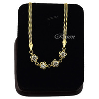 1pcs Double Box Chain Link Crystal Flowers For Women Bracelet 22K Yellow Gold FIlled  E247