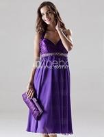 2015 New Arrival Women Purple Elegant A-Line Halter V-Neck Beads Mid-Calf Short Prom Dress Party Gown Formal Evening Dresses