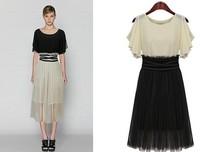2014 new fashion chiffon dress lotus leaf sleeve dress