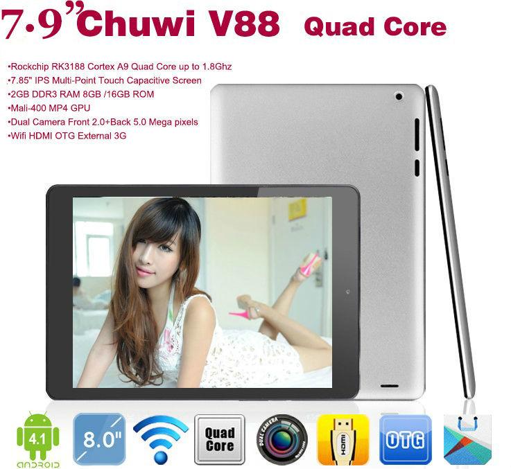 Chuwi V88: RK3188 Quad Core Tablet PC,Mini pad Android 4.2.2 ,7.9'' IPS Screen,2GB RAM /16GB ROM,Dual Camera,Bluetooth,Wifi(China (Mainland))