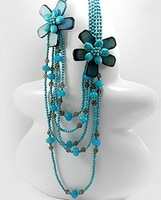 coral  agate handmade  flower long necklace  ,top hot fashion flower neckalce for party