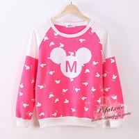 Cartoon Mini Mickey ! Women Cotton Hoodies Patchwork Color Autumn Winter Fashion Hoody Dot Sweatshirt B050