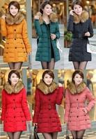 Plus size New 2014 Fashion Faux Fur Collar parkas for women winter Hoody White Duck Down Jacket Women parka Free shipping B2323