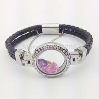 2014 Newest Genuine Leather Core Stainless Steel Crystal Locket Bracelet 2pcs/lot LB-042