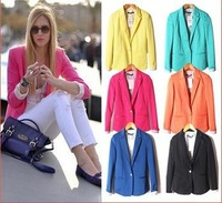 ZA Womens Tunic Foldable Sleeve Blazer Jacket Candy Color Femal Suit One Button Cardigan Coat