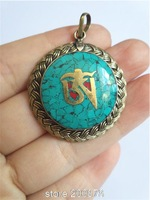 TBP757 Tibetan Metal Golden OM Mantras Braided Amulets,Nepal turquoise flower Pendants Wholesale Tibet Jewelry