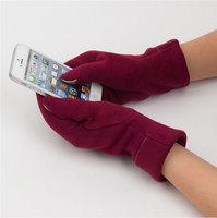 2014 New Women's Brown Turnup Cotton Telefingers  Touch  Winter Gloves warmer Fashion Gift