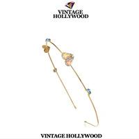 Free Shipping Korea version of the colored gemstone hoop hairpin gem headband gem hairband