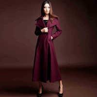 Twods 2014 new winter woollen coat women lapel double-breasted over wool coat x long woolen outwear high-end slim elegant maxi