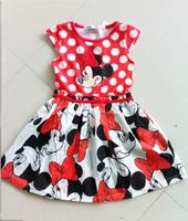 2014 New Summer Children's Clothing Kids Cartoon Minnie Princess Dress Girls Casual TUTU Dot Dresses 5pcs/lot