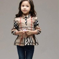 Retail Fashion children's clothing 2014 Spring Autumn New baby girl classic plaid long-sleeved shirt lapel