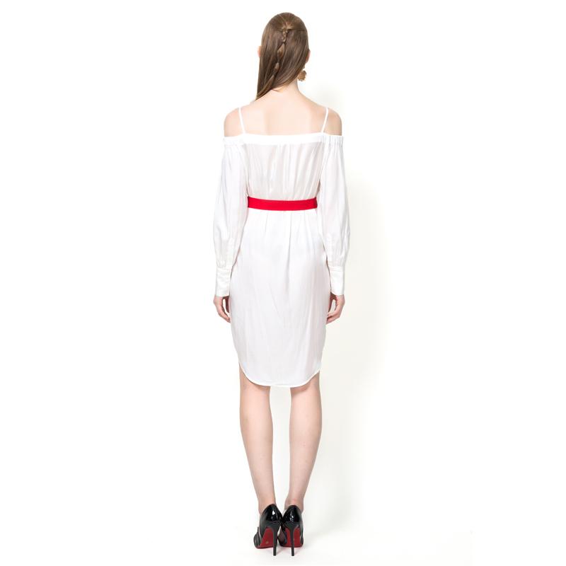 Free Shipping! YIGELILA Women New Fashion White Shirt Dress with ...