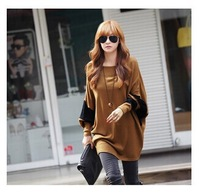 The new Hot Sale bat sleeve loose big size long sleeve autumn winter female T-shirt knitted render unlined upper garment