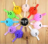 12pcs wholesale Ribbon Multilayers Flower hairbands rhinestone hairband for baby girl ,Korean style princess headband