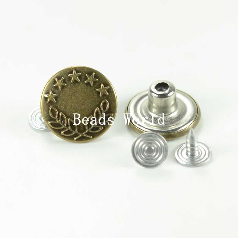 "50 Sets Bronze Tone Star&Wheat Pattern Jean Tack Buttons 17x8mm(5/8""x3/8"") (W04058 X 1)(China (Mainland))"