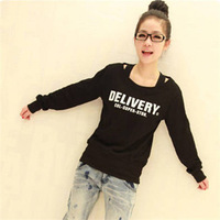 2076 free shipping 2014 women autumn winter new fashion delivery letters print long sleeve hoodies ladies casual sweatshirts XXL