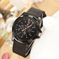 Fashion Unisex Fabric Strap relojes Military watches Women Dress Watches Quartz Watch AW-SB-1068
