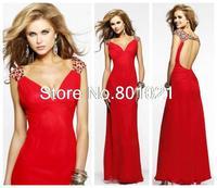Free Shipping Sheath V-Neck Floor Length Beaded Red Backless Custom Made Long Prom Dress Cap Sleeves  2015