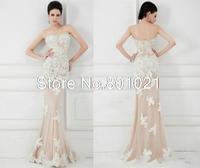 Discount Hot Selling Elegant White Lace Strapless Long Prom Dresses 2015 Mermaid Floor Length Evening Dresses