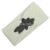 Beaded Flower Jewel Knit Headband Hairband Winter HeadWrap Black Ivory
