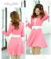 5 Colors,2014 autumn winter new fashion women casual dress,long sleeve slim show thin big hem vestidos with bow,sweet cute dress