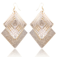 2014 New Fashion Hot Selling Luxury Geometric Sparkling Gold Plated  Big Drop Earrings For Women # FL-E1293